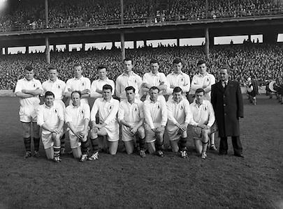 Football Railway Cup Final, .Ulster v. Leinster.Ulster.17.03.1962<br /> Back Row - from Left<br /> James McCartan (An Dún) Sean McDonnell (An Cabhán) Eugene Larkin<br /> (Ard Mhaca) Benny Mone (Muineachán)<br /> Sean O Connell (An Doire)<br /> Pat Rice An Dún Dan McCartan An Dún Gabriel Kelly (An Cabhán) <br /> <br /> Front Row - from Left Jimmy Whan (Ard Mhaca) Breen Morgan An Dún Leo Murphy An Dún Jarlath Carey An Dún Paddy Doherty An Dún Sean O Neill An Dún T McArdle (Muineachán)<br /> <br /> first live televised Gaelic Football Match