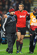 Crusaders player Adam Whitelock goes off injured during their Investec Super Rugby game Crusaders v Blues. New AMI Stadium, Christchurch, New Zealand. Saturday 18 May 2013. Photo: Chris Symes/www.photosport.co.nz