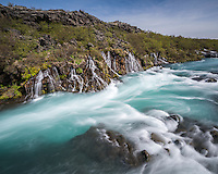 Hraunfossar waterfalls, West Iceland.