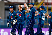 CORRECTION England ODI all rounder David Willey  celebrates the wicket of India ODI batsman Rohit Sharma  from the bowling off England ODI all rounder David Willey  during the 3rd Royal London ODI match between England and India at Headingley Stadium, Headingley, United Kingdom on 17 July 2018. Picture by Simon Davies.