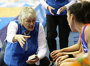 Coach Yvonne Willering instructs her players during the break - round 4 of the ANZ Netball Championship - Queensland Firebirds v Northern Mystics. Played at Brisbane Convention Centre. Firebirds (46) defeated the Mystics (40).  Photo: Warren Keir (SMP/Photosport).<br /> <br /> Use information: This image is intended for Editorial use only (e.g. news or commentary, print or electronic). Any commercial or promotional use requires additional clearance.