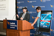 """This is Dan Lear and Dazza Greenwood (hat) at the """"Hackness to Justice 2014 Hackathon"""" session at the 2014 annual meeting of the American Bar Association in Boston at Suffolk University Law School.  photo by Kathy Anderson"""
