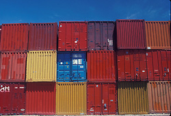 Stack of colorful shipping containers at the Port of Houston