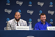 Apr 6, 2018; Thousand Oaks, CA, USA; Los Angeles Rams defensive tackle Ndamukong Suh (left) and coach Sean McVay at a press conference at Cal Lutheran.