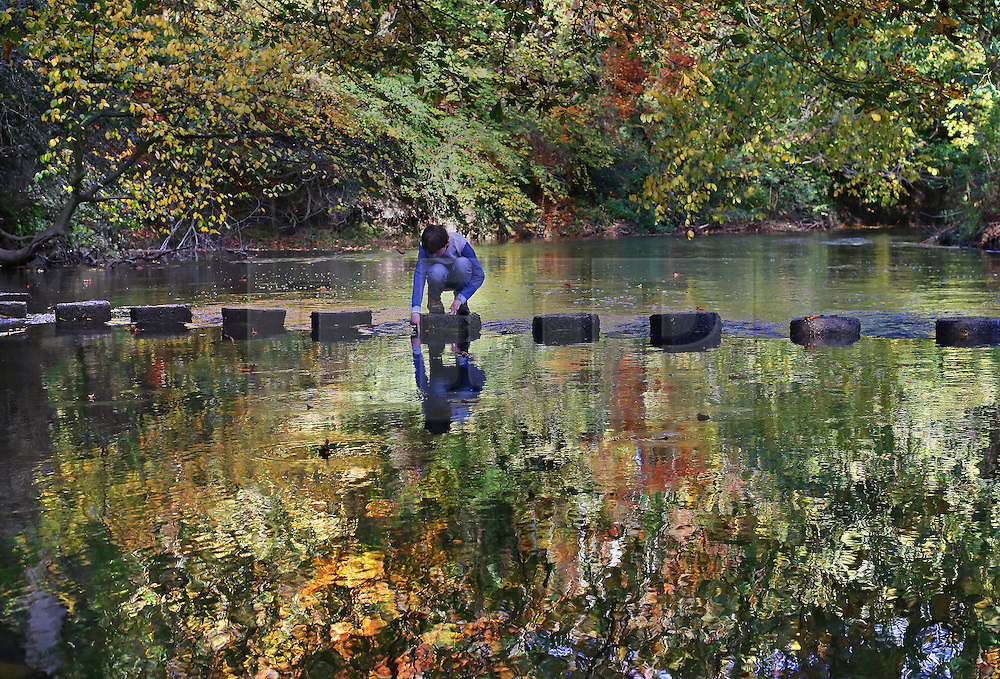 © Licensed to London News Pictures. 27/10/2015. Dorking, UK. A boy looks into the River Mole as he crosses stepping stones near Box Hill . Photo credit: Peter Macdiarmid/LNP