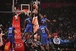 January 6, 2019 - Los Angeles, CA, U.S. - LOS ANGELES, CA - JANUARY 06: Los Angeles Clippers Forward Danilo Gallinari (8) loses the ball as Orlando Magic Center Mo Bamba (5) and Orlando Magic Guard Terrence Ross (31) defend during a NBA game between the Orlando Magic and the Los Angeles Clippers on January 6, 2019 at STAPLES Center in Los Angeles, CA. (Photo by Brian Rothmuller/Icon Sportswire) (Credit Image: © Brian Rothmuller/Icon SMI via ZUMA Press)