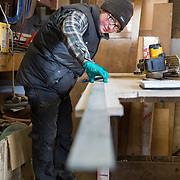 Mallaig Boatyard. Carpenter Natalia Grubba from Poland in the workshop. Picture Robert Perry 9th April 2016<br /> <br /> Must credit photo to Robert Perry<br /> FEE PAYABLE FOR REPRO USE<br /> FEE PAYABLE FOR ALL INTERNET USE<br /> www.robertperry.co.uk<br /> NB -This image is not to be distributed without the prior consent of the copyright holder.<br /> in using this image you agree to abide by terms and conditions as stated in this caption.<br /> All monies payable to Robert Perry<br /> <br /> (PLEASE DO NOT REMOVE THIS CAPTION)<br /> This image is intended for Editorial use (e.g. news). Any commercial or promotional use requires additional clearance. <br /> Copyright 2014 All rights protected.<br /> first use only<br /> contact details<br /> Robert Perry     <br /> 07702 631 477<br /> robertperryphotos@gmail.com<br /> no internet usage without prior consent.         <br /> Robert Perry reserves the right to pursue unauthorised use of this image . If you violate my intellectual property you may be liable for  damages, loss of income, and profits you derive from the use of this image.