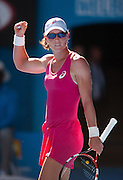 Australian Samantha Strosur is victorious in Day 1 Australian Open play. Stosur beat Klara Zakopalova (CZE) 6-3, 6-4 in first round play of the 2014 Australian Open at Melbourne's Rod Laver Arena. beat Klara Zakopalova (CZE) 6-3, 6-4 in first round play of the 2014 Australian Open at Melbourne's Rod Laver Arena.