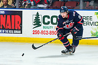 KELOWNA, BC - MARCH 7: Justin Hall #9 of the Lethbridge Hurricanes skates for the puck during third period against the Kelowna Rockets at Prospera Place on March 7, 2020 in Kelowna, Canada. (Photo by Marissa Baecker/Shoot the Breeze)