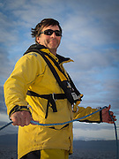 Blain Goold, yachtsman of many talents, coaxes Riva in the Strait of Juan de Fuca.  2014 Swiftsure International Yacht Race, Victoria, British Columbia, Canada.  Olympus Tough TG-1.