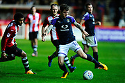 Glen Rea (16) of Luton Town on the attack during the EFL Sky Bet League 2 match between Exeter City and Luton Town at St James' Park, Exeter, England on 17 October 2017. Photo by Graham Hunt.