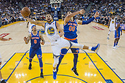 January 23, 2018; Oakland, CA, USA; Golden State Warriors guard Stephen Curry (30) shoots the basketball against New York Knicks center Enes Kanter (00) during the second half at Oracle Arena. The Warriors defeated the Knicks 123-112.