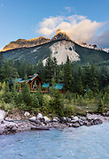 Cathedral Mountain Lodge on Kicking Horse River in Yoho National Park, in the Canadian Rocky Mountains, British Columbia, Canada. The panorama was stitched from 5 overlapping images.