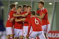 EDINBURGH, SCOTLAND - Tuesday, November 1, 2016: Wales' Keenan Patten [centre] celebrates scoring a late equalising second goal against Scotland to seal a 2-2 draw during the Under-16 2016 Victory Shield match at ORIAM. (Pic by David Rawcliffe/Propaganda)