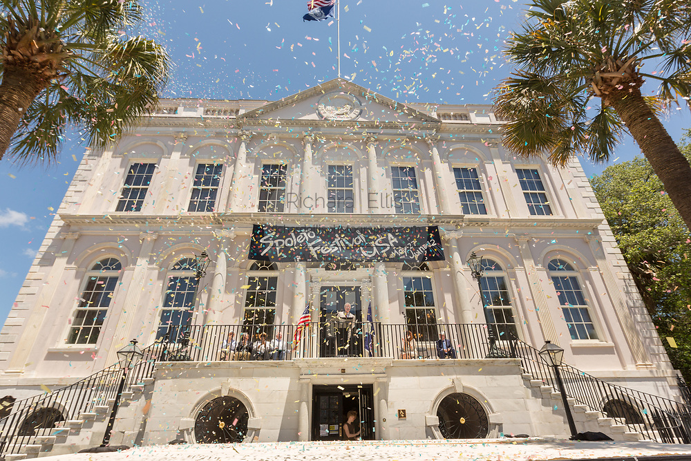Confetti rains down as the new Charleston Mayor John Tecklenburg kicks off the annual Spoleto Festival USA, a 17-day performing arts festival May 27, 2016 in Charleston, South Carolina. The festival began with remembrances of the nine people fatally shot in last years AME church shooting.