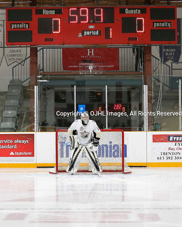 TRENTON, ON - MAR 3,  2017: Ontario Junior Hockey League, playoff game between the Trenton Golden Hawks and the Newmarket Hurricanes., Chris Janzen #1 of the Trenton Golden Hawks prior to the game<br /> (Photo by Amy Deroche / OJHL Images)