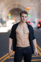 hot man with open shirt in New York City