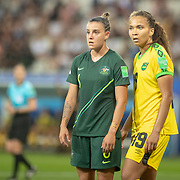 GRENOBLE, FRANCE June 18.  Chloe Logarzo #6 of Australia defended by Toriana Patterson #19 of Jamaica during the Jamaica V Australia, Group C match at the FIFA Women's World Cup at Stade des Alpes on June 18th 2019 in Grenoble, France. (Photo by Tim Clayton/Corbis via Getty Images)