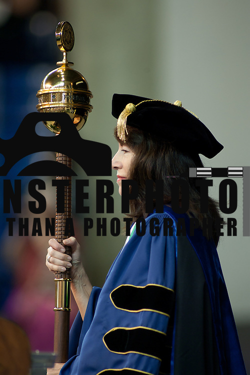 05/16/12 Newark DE: Del Tech Dean of Instruction Kathy A. Janvier, Ph.D. stands on stand during the presentation of the mace Wednesday, May 16th 2012, at The Bob Carpenter Center in Newark Delaware...Special to The News Journal/SAQUAN STIMPSON