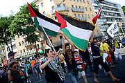 Mainz | 18 July 2014<br /> <br /> Am Samstag (18.07.2014) nahmen etwa 1000 M&auml;nner, Frauen und Kinder in der Innenstadt von Mainz anl&auml;sslich der milit&auml;rischen Auseinandersetzung zwischen Israel und der Hamas in Gaza an einer Solidarit&auml;tsdemonstration f&uuml;r Gaza, ein freies Pal&auml;stina und gegen Israel teil. Bei der Demo wurden Fahnen der Hamas und der Hisbollah mitgef&uuml;hrt, neben den &uuml;blichen Parolen gegen Israel wurde in Sprechch&ouml;hren auch vereinzelt zur Vernichtung von J&uuml;dinnen und Juden aufgerufen.<br /> Hier: Teilnehmer der Demo mit Pal&auml;stina-Fahnen.<br /> <br /> <br /> &copy;peter-juelich.com<br /> <br /> [No Model Release | No Property Release]