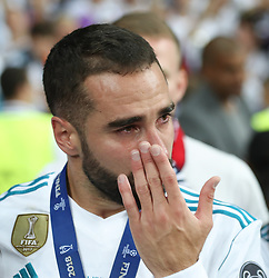 May 26, 2018 - Kiev, Ukraine - Real Madrid's Dani Carvajal reacts during the final match of the Champions League between Real Madrid and Liverpool at the Olympic Stadium in Kiev. Ukraine, Saturday, May 26, 2018  (Credit Image: © Raddad Jebarah/NurPhoto via ZUMA Press)