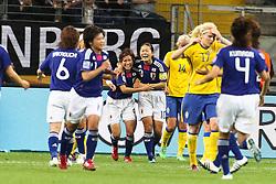 13.07.2011, Commerzbank Arena, Frankfurt, GER, FIFA Women Worldcup 2011, Halbfinale,  Japan (JPN) vs. Schweden (SWE), im Bild.Jubel Japan nach dem 1:1 durch Torjubel / Jubel  Nahomi Kawasumi (Japan) .. // during the FIFA Women´s Worldcup 2011, Semifinal, Japan vs Sweden on 2011/07/13, Commerzbank Arena, Frankfurt, Germany.   EXPA Pictures © 2011, PhotoCredit: EXPA/ nph/  Mueller       ****** out of GER / CRO  / BEL ******