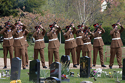 © Licensed to London News Pictures. 19/04/2012. DIDCOT, UK. The firing party at the funeral of Lance Corporal Michael Foley, Adjutant General's Corps (Staff and Personnel Support), fires a 3 volley salute. Foley was shot dead by an Afghan soldier on March 26. He is survived by his wife Sophie (not pictured) and their three young sons who did not attend the service. Photo credit :  Cliff Hide/LNP