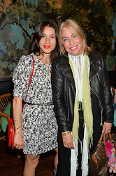 Left to right, LAUREN KEMP and BRIX SMITH-START at a tea party to launch Grace Guru held at Sketch, 9 Conduit Street, London on 17th June 2015.