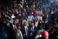 President-elect Uhuru Kenyatta, of the Jubilee Coalition, makes his way to the podium at Bomas of Kenya, after being declared winner of Kenya's 2013 General Election by the Independent Electoral and Boundaries Commission, on Saturday, March 9th.