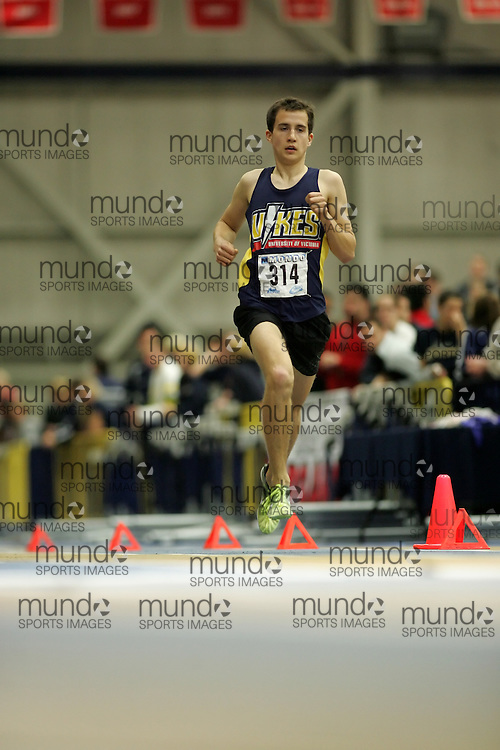 (Windsor, Ontario---13 March 2010) Karl Robertson of University of Victoria   competes in the 1500m final at the 2010 Canadian Interuniversity Sport Track and Field Championships at the St. Denis Center. Photograph copyright Sean Burges/Mundo Sport Images. www.mundosportimages.com