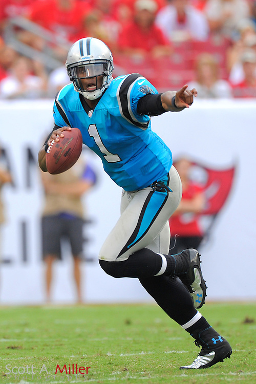 Carolina Panthers quarterback Cam Newton (1)during the Bucs game against the Tampa Bay Buccaneers at  Raymoind James Stadium  on September 9, 2012 in Tampa, Florida. ..(SPECIAL TO FOXSPORTS.COM/Scott A. Miller)...