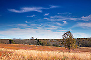 Cirrus clouds fill the sky over the Big Meadows in Shenandoah National Park, Virginia.