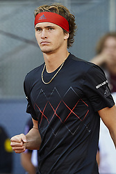 May 13, 2018 - Madrid, Madrid, Spain - Alexander Zverev of Germany celebrates a point in his final match against Dominic Thiem of Austria during day nine of the Mutua Madrid Open tennis tournament at the Caja Magica on May 13, 2018 in Madrid, Spain  (Credit Image: © David Aliaga/NurPhoto via ZUMA Press)