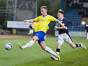 Greenock Morton's Craig Reid clears as he's chased by Dundee's Nicky Riley - Dundee v Greenock Morton, William Hill Scottish Cup 5th Round at Dens Park .. - © David Young - www.davidyoungphoto.co.uk - email: davidyoungphoto@gmail.com