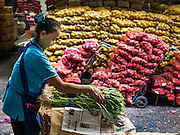 "11 AUGUST 2016 - BANGKOK, THAILAND:      A vendor bundles green onions in the produce section of Pak Khlong Talat in Bangkok. Pak Khlong Talat (literally ""the market at the mouth of the canal"") is the best known flower market in Thailand. It is the largest flower market in Bangkok. Most of the shop owners in the market sell wholesale to florist shops in Bangkok or to vendors who sell flower garlands, lotus buds and other floral supplies at the entrances to temples throughout Bangkok. There is also a fruit and produce market which specializes in fresh vegetables and fruit on the site. It is one of Bangkok's busiest markets and has become a popular tourist attraction.       PHOTO BY JACK KURTZ"