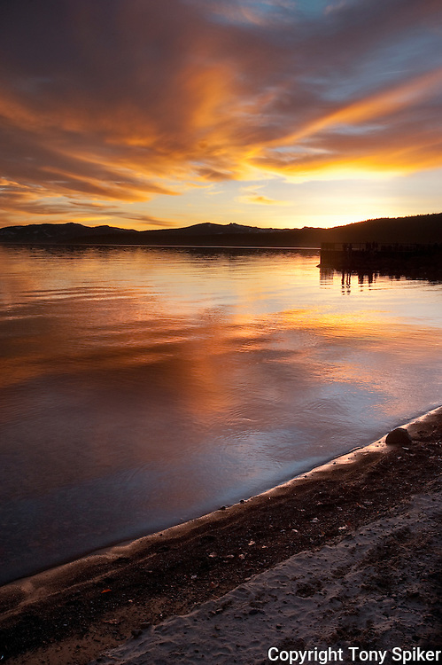 """Tahoe Vista Sunset 1"" - The sun sets over the Sierra Nevada Mountains and Lake Tahoe, California"
