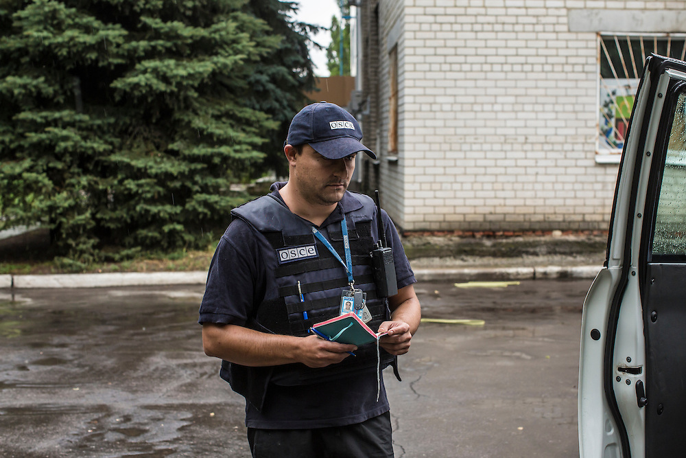 AVDIIVKA, UKRAINE - JULY 10, 2016: Team patrol leader Mitko Simeonov of Bulgaria during a monitoring mission for the OSCE in Avdiivka, Ukraine. The mission tracks violations of the Minsk-II ceasefire agreement, among other tasks. CREDIT: Brendan Hoffman for The New York Times