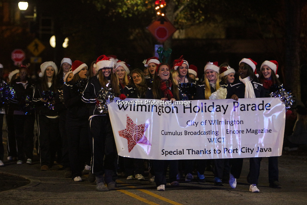 Hoggard cheerleaders participate in the 12th Annual Wilmington Holiday Parade Sunday December 7, 2014 in Wilmington, N.C. (Jason A. Frizzelle)