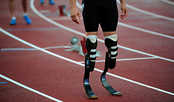 Oscar Pistorius of South Africa prepares for the start of the Men's 400 Final B race during the Samsung Diamond League meeting at Crystal Palace in London August 13, 2010.