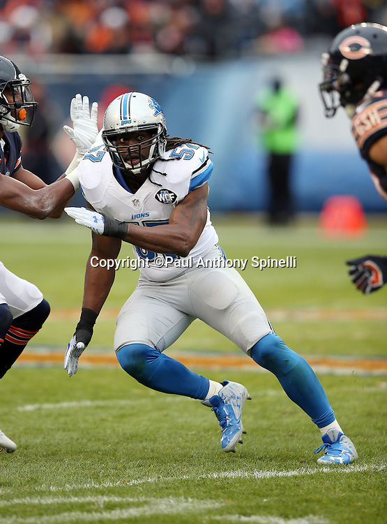 Detroit Lions outside linebacker Josh Bynes (57) chases the action during the NFL week 17 regular season football game against the Chicago Bears on Sunday, Jan. 3, 2016 in Chicago. The Lions won the game 24-20. (©Paul Anthony Spinelli)