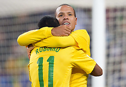20.06.2010, Soccer City Stadium, Johannesburg, RSA, FIFA WM 2010, Brazil (BRA) vs Ivory Coast (CIV), im Bild Luis Fabiano and Robinho of Brazil celebrate after Luis Fabiano scored second time. EXPA Pictures © 2010, PhotoCredit: EXPA/ Sportida/ Vid Ponikvar