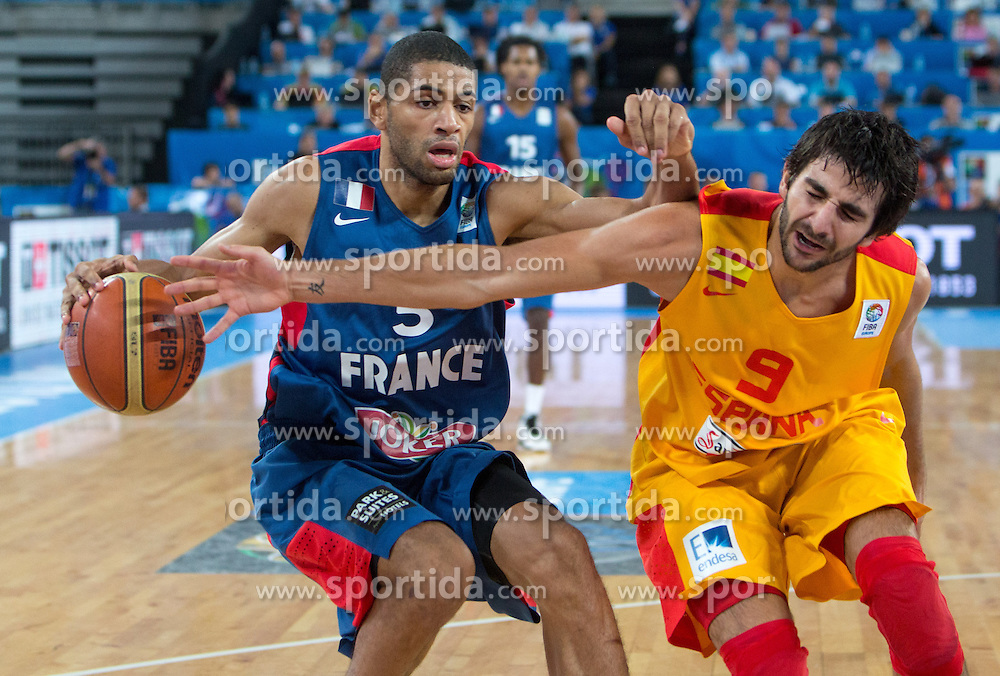 Nicolas Batum #5 of France vs Ricky Rubio #9 of Spain during semifinal basketball match between national team of Spain and France at Eurobasket 2013 on September 20, 2013 in SRC Stozice, Ljubljana, Slovenia. (Photo By Matic Klansek Velej / Sportida.com)