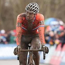 29-01-2017: Wielrennen: Wereldkampioenschap veldrijden: Luxemburg<br /> BIELES (LUX) cyclocross     <br /> Mathieu van der Poel moest vrede hebben met plek twee na een lekker band