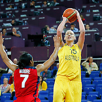 09 August 2012: Australia Lauren Jackson takes a jumpshot over USA Maya Moore during 86-73 Team USA victory over Team Australia, during the women's basketball semi-finals, at the 02 Arena, in London, Great Britain.