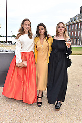 Left to right, Lady Marina Windsor, Carmen Hall and Ayesha Shand at the Concours d'éléphant in aid of Elephant Family held at the Royal Hospital Chelsea, London, England. 28 June 2018.