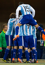 Players of Argentina celebrate after first goal of Argentina during the 2010 FIFA World Cup South Africa Round of Sixteen match between Argentina and Mexico at Soccer City Stadium on June 27, 2010 in Johannesburg, South Africa. (Photo by Vid Ponikvar / Sportida)
