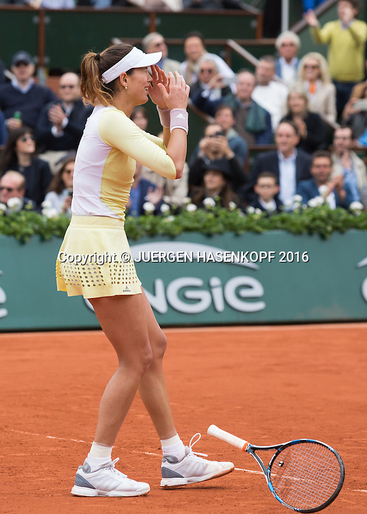 Garbine Muguruza (ESP) Matchball,Sieg,Damen Finale, Endspiel,<br /> <br /> <br /> Tennis - French Open 2016 - Grand Slam ITF / ATP / WTA -  Roland Garros - Paris -  - France  - 4 June 2016.