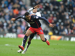 Reading Jordan Obita, battles with Derby Jesse Linguard, Derby County v Reading, FA Cup 5th Round, The Ipro Stadium, Saturday 14th Febuary 2015