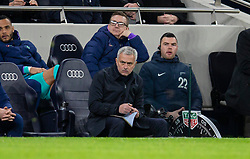 LONDON, ENGLAND - Saturday, January 11, 2020: Tottenham Hotspur's manager José Mourinho writes notes during the FA Premier League match between Tottenham Hotspur FC and Liverpool FC at the Tottenham Hotspur Stadium. (Pic by David Rawcliffe/Propaganda)