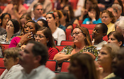 Houston ISD and PBK architects talk with community members during a meeting on the rebuild of Bellaire High School, September 4, 2014.